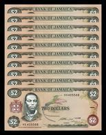 Jamaica Lot Bundle 10 Banknotes 2 Dollars 1993 Pick 69e SC UNC - Jamaique