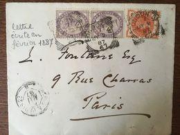 GRANDE BRETAGNE ANGLETERRE COURRIER DE 1887 TIMBRES 73 ET 93 - 1840-1901 (Regina Victoria)