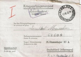 KRIEGSGEFANGENENPOST - Rückantwortbrief - Marcel LAMBERT (Stalag XI A) De GEMBLOUX Le 17-3-1942 - Guerre 40-45