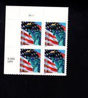 1037188027 SCOTT 3966 POSTFRIS MINT NEVER HINGED EINWANDFREI - FLAG AND STATUE OF LIBERTY PLATE BLOCK - Etats-Unis