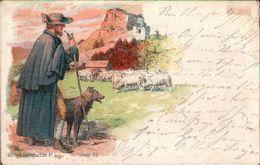 ! Alte Ansichtskarte, Württembergische Landestrachten No.3, Schwäbische Alb, Schäfer, Hund, Schafe, Sheeps - Vestuarios