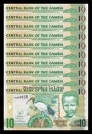 Gambia Lot Bundle 10 Banknotes 10 Dalasis 2006-2013 Pick 26c SC UNC - Gambia