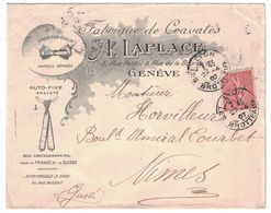 BELLE ENVELOPPE ILLUSTRÉE A. LAPLACE FABIQUE DE CRAVATES GENEVE LYON AFFRANCHIE SEMEUSE LIGNÉE 129 Pour NIMES 1907 - Marcophilie (Lettres)