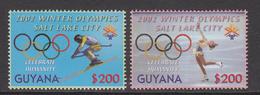 2002 Guyana Salt Lake City Winter Olympics Figure Skating Skiing  Complete Set Of 2 MNH - Guyane (1966-...)