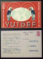 Yugoslavia 1957 Radio Card Partizan Belgrade Serbia Bird Birds B37 - Jugoslavia