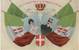 335-Savoia-Case Reali-Royal Houses-Maisons Royales-Coppia Reale Con Stemma E Bandiere-censura 1915 X Giardini Per Kaggi - Royal Families