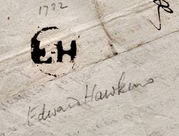 """1782 Letter To """"Mr Medwin, Horsham"""" From """"H B Mayhew"""" With 'EH' (Edward Hawkins) Receiver's Mark. """"Brace Of Hares""""  0824 - Grande-Bretagne"""