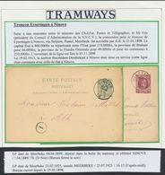 Tramways : Tronçon Eyseringen - Ninove. Page De Collection çàd 2 Entiers Voyageant Via Ce Tronçon (1899 Et 1925) - Enteros Postales