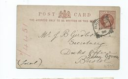 Great Britain Bbristol D16   Squared Circle Prepaid Pc     Search Also My Postcards For More Cancels - 1840-1901 (Victoria)