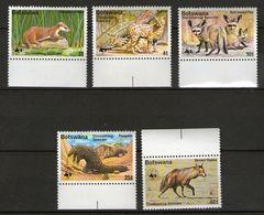 WWF 1977 Botswana Mi.182-86 Gefährdete Tiere / Sc.182-86 Wildlife-Endagered Animals **/MNH - W.W.F.