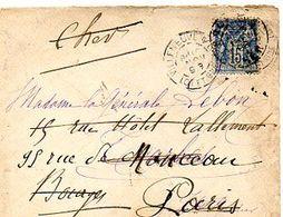 C6  1893 LETTRE Villeneuve Sur Lot   Pour Paris / Bourges - Marcophilie (Lettres)