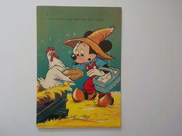 1965 CP Mickey Walt Disney La Poule Aux Ballons De Rugby - Otros