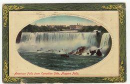 American Falls From Canadian Side, Niagara Falls Old Postcard Posted 1912 To Sisak Croatia Bb200701 - Chutes Du Niagara