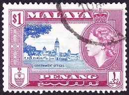 MALAYA PENANG 1957 $1 Ultramarine & Reddish Purple SG31a Fine Used - Penang