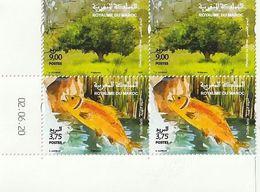 Maroc. Coin Daté De 2 Paires De Timbres 2020. Journée Mondiale De L'environnement. Truite Fario. Pistachier De L'Atlas. - Protezione Dell'Ambiente & Clima