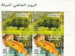 Maroc. Coin  De 2 Paires De Timbres 2020. Journée Mondiale De L'environnement. Truite Fario. Pistachier De L'Atlas. - Protezione Dell'Ambiente & Clima