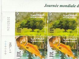 Maroc. Coin Numéroté 2 Paires De Timbres 2020. Journée Mondiale De L'environnement. Truite Fario. Pistachier De L'Atlas. - Protezione Dell'Ambiente & Clima