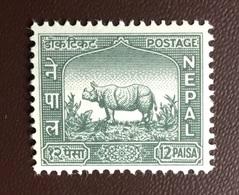 Nepal 1959 12p Rhinoceros Animals MNH - Rinocerontes