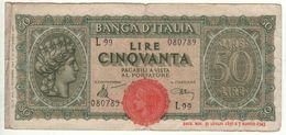 ITALY  50 Lire     ITALIA TURRITA     10.12.1944   Firme   Introna-Urbini - [ 1] …-1946: Königreich