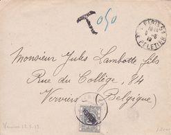 Belgique - TX16 (dent 14) Surcharge Verviers Sur Lettre De Rue Le Peletier à Paris Vers Verviers - 1919 - Impuestos