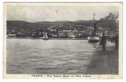 CLA411 - TRIESTE RIVA NAZARIO SAURO CON MOLO AUDACE ANIMATISSIMA BARCA NAVE BOAT 1926 - Trieste