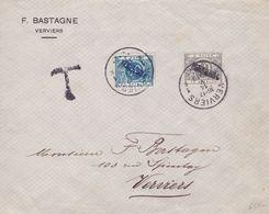 Belgique - TX15 (dent 14) + TX16 (dent 14) Surcharge Verviers Sur Lettre - 1919 - Impuestos