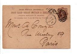 GB ENTIER CARTE DE MANCHESTER POUR LA FRANCE 1891 - 1840-1901 (Victoria)