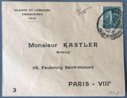 France N°130 Sur Lettre ALSACE LORRAINE - (W1632) - Marcophilie (Lettres)