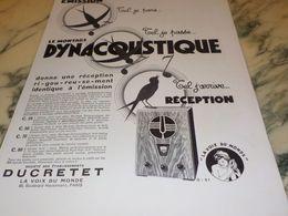 ANCIENNE PUBLICITE RIGOUREUSEMENT IDENTIQUE  TSF DUCRETET 1933 - Music & Instruments