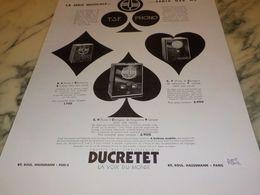 ANCIENNE PUBLICITE SERIE MUSICALE  TSF PHONO  DUCRETET 1933 - Musik & Instrumente