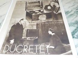 ANCIENNE PUBLICITE  PHONOGRAPHE ELECTRIQUE  DUCRETET 1933 - Music & Instruments