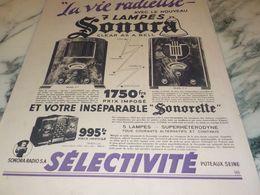 ANCIENNE PUBLICITE VIE RADIEUSE RADIO SONORA  1933 - Musik & Instrumente