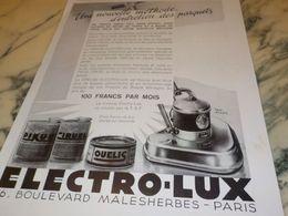 ANCIENNE PUBLICITE ENTRETIEN DES PARQUETS ELECTRO LUX 1933 - Autres