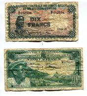 Lot De 2 Billets Banque Centrale Du Congo Belge Et Du Ruanda - Urundi - [ 5] Congo Belge