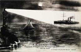 "Cpa - Bateau PAQUEBOT    "" S/S AUSTRALIEN""    ( Cruiser Steam Ship )  - CMM De Nuit - Steamers"