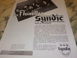 ANCIENNE PUBLICITE  FLANELLES SYNDIC DE REIMS 1933 - Advertising