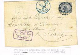 COB 40  25c Bleu Sur Lettre De VERVIERS STATION  10 Avril 1885 Vers Paris, Cachet Arrivée Bleu Paris ETRANGER - 1883 Leopold II