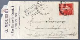 France N°138 Sur Lettre, RETOUR à L'ENVOYEUR 2742 - (W1643) - Marcophilie (Lettres)