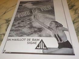 ANCIENNE PUBLICITE CPOUR LA MER MAILLOT DE BAIN JIL 1933 - Vintage Clothes & Linen