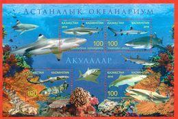 Kazakhstan 2016.Block.Sharks.The Oceanarium In Astana. - Kazakhstan