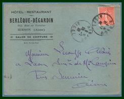 Hirson (Aisne 02 ) Type A 4 1929 /N° Sem. Berlèque - Dégardin Hôtel - Restaurant - Marcophilie (Lettres)