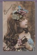 CPA FANTAISIE - Joli Portrait De Fillette Avec Grappes De Raisin Dans Les Cheveux Bonne Fête - Abbildungen