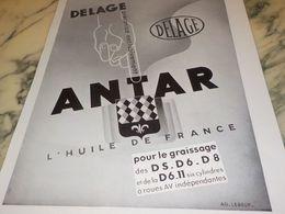 ANCIENNE PUBLICITE DELAGE PRECONISE  ANTAR 1933 - Transporto