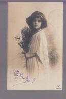 CPA FANTAISIE - Joli Portrait De Fillette Avec Bouquet De Fleurs - Abbildungen