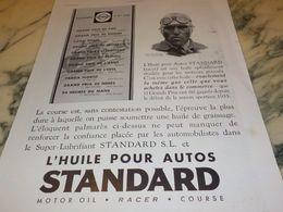 ANCIENNE  PUBLICITE TAZIO NUVOLARI ET PALMARES STANDARD  1933 - Voitures