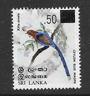 Sri Lanka 2005 Ceylon Blue Magpie Surcharge Rs0.50 On 0.10 Used Stamp SG1725 - Sri Lanka (Ceylan) (1948-...)