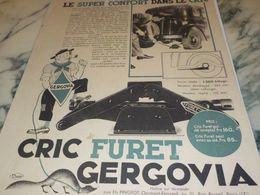 ANCIENNE PUBLICITE SUPER CONFORT LE CRIC GERGOVIA  1933 - Transporto