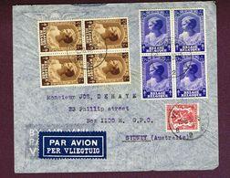 1938 Lettre Par Avion Vers SIDNEY Avec N°s 459 Et 464 (Joséphine Charlotte) En Blocs De 4 - Belgium