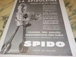 ANCIENNE PUBLICITE  LA SPIDOLEINE ET  HUILE SPIDO 1933 - Transporto
