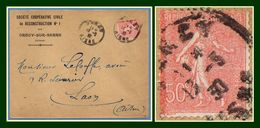 Dercy (Aisne 02 ) Type A 4 1930 /N° 199 Semeuse Variété (verso OMEC Laon) - Variétés: 1921-30 Lettres & Documents